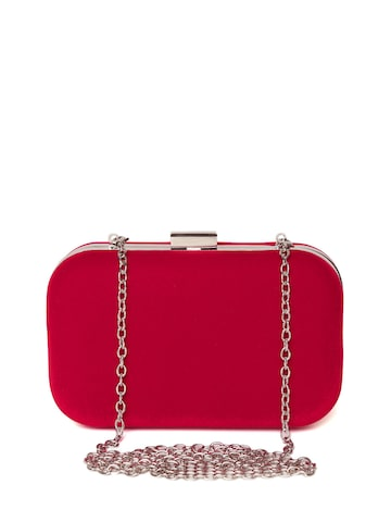 Lisa Haydon for Lino Perros Red Velvet-Finish Box Clutch with Chain Strap at myntra