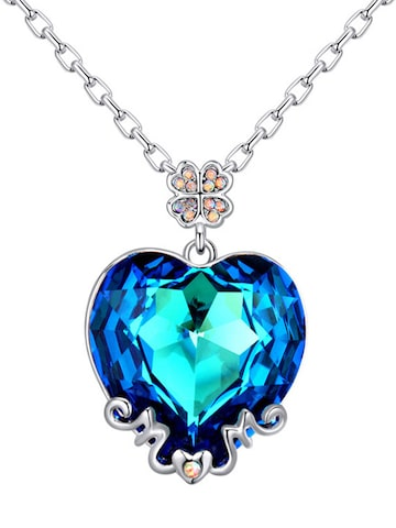 Peora Silver-Toned & Blue Heart-Shaped Swarovski Crystal Pendant with Chain at myntra