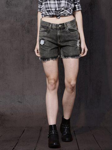 Roadster Women Grey Washed Regular Fit Denim Shorts at myntra