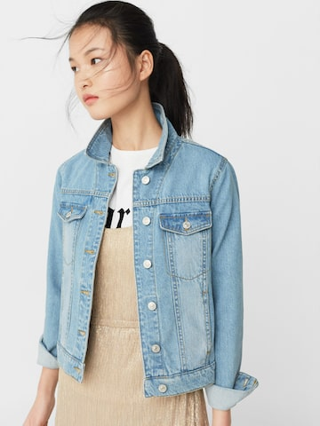MANGO Women Blue Solid Denim Jacket at myntra