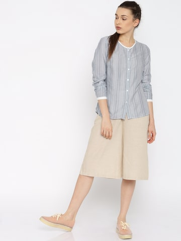 Vero Moda White & Blue Striped Casual Shirt at myntra