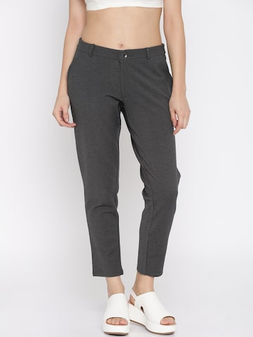 Vero Moda Charcoal Grey Trousers at myntra