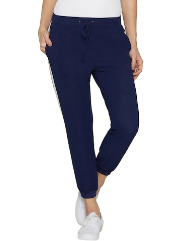 Globus Women Navy Relaxed Fit Solid Joggers at myntra