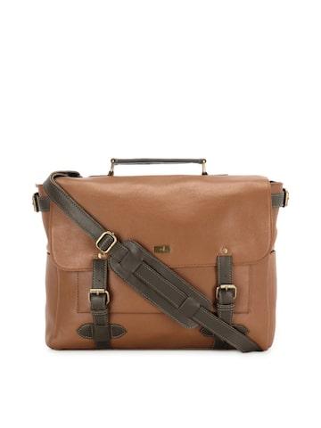 yelloe Men Tan Brown Laptop Bag with Sling Strap at myntra