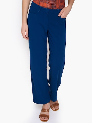 Amari West Women Blue Solid Parallel Trousers at myntra