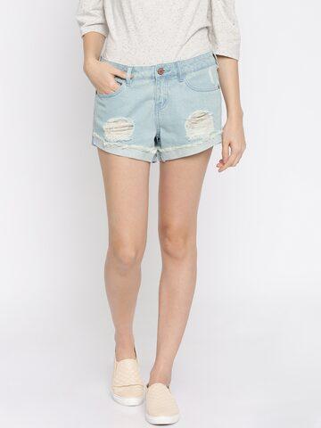 Vero Moda Blue Denim Shorts at myntra