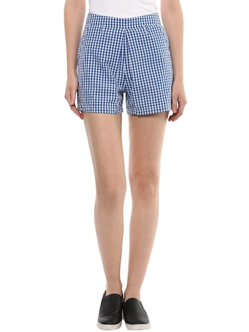 STREET 9 Women Blue Checked Shorts at myntra