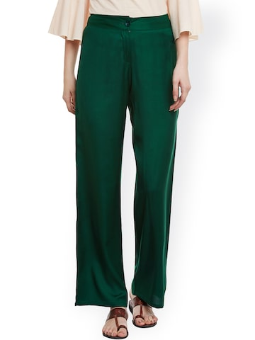 Meee Women Green Straight Fit Parallel Trousers at myntra