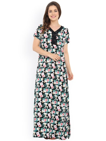 Heart 2 Heart Black Floral Print Maxi Nightdress LLN72HIBISB at myntra