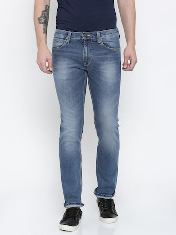 Lee Men Blue Powell Slim Fit Mid-Rise Jeans at myntra