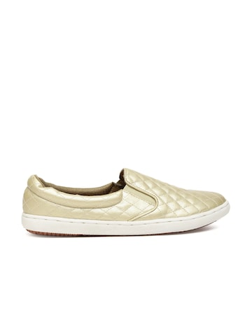 Carlton London Women Gold-Toned Quilted Slip-On Sneakers at myntra