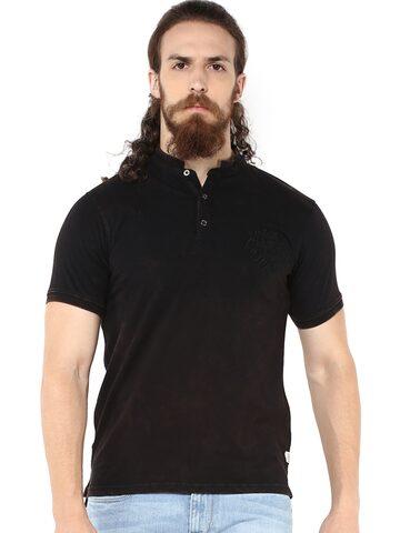 ELABORADO Men Black Solid Stand Collar T-shirt at myntra