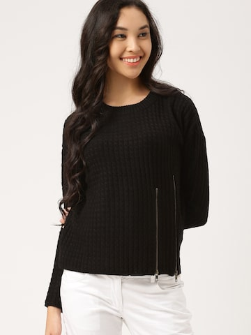 DressBerry Women Black Self-Design Pullover at myntra