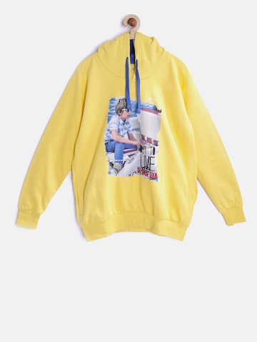 Gini and Jony Boys Yellow Printed Hooded Sweatshirt Gini and Jony Sweatshirts at myntra