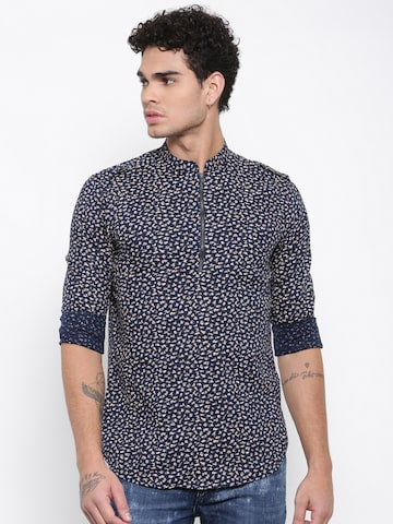 The Indian Garage Co Men Navy Printed Straight Kurta The Indian Garage Co Kurtas at myntra