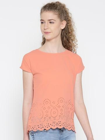 Noi Women Peach-Coloured Cut-Out Top Noi Tops at myntra