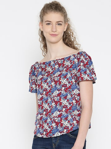 Noi Women Blue & Red Printed Bardot Top Noi Tops at myntra