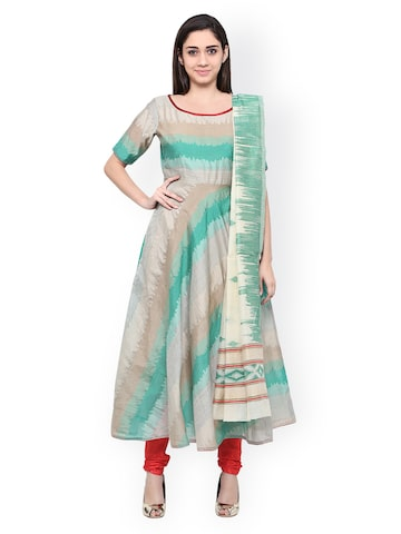 Inddus Green & Red Cotton Blend Unstitched Dress Material at myntra