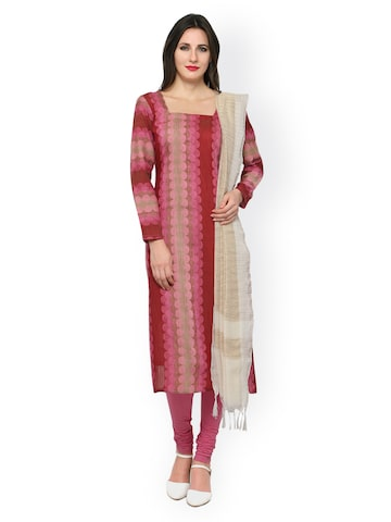 Inddus Pink Cotton Blend Unstitched Dress Material at myntra