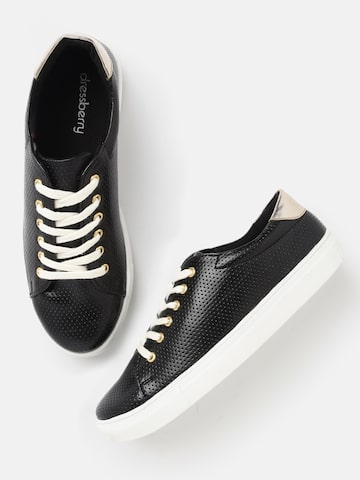 DressBerry Women Black Textured Sneakers at myntra