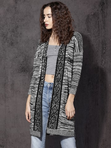 RDSTR Black & Grey Longline Knitted Shrug at myntra