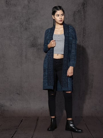 RDSTR Blue Longline Shrug at myntra