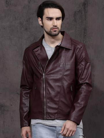 RDSTR Men Burgundy Solid Biker Jacket Roadster Jackets at myntra
