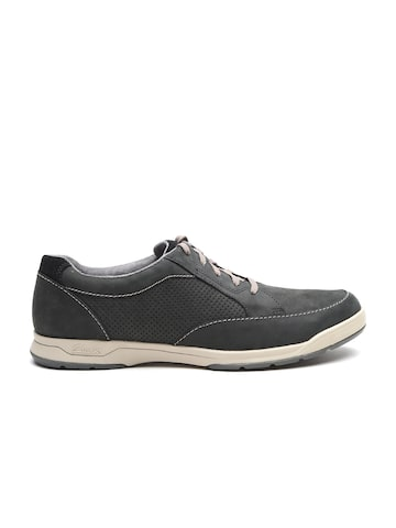 Clarks Men Charcoal Grey Nubuck Leather Sneakers Clarks Casual Shoes at myntra