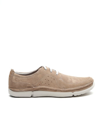 Clarks Men Beige Suede Derbys Clarks Casual Shoes at myntra