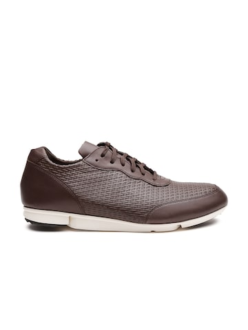 Clarks Men Brown Leather Textured Sneakers at myntra