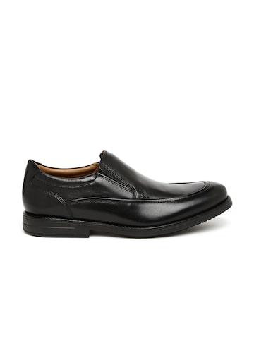 Clarks Men Black Slip-On Leather Formal Shoes at myntra