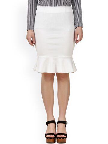 Texco White Peplum Skirt at myntra