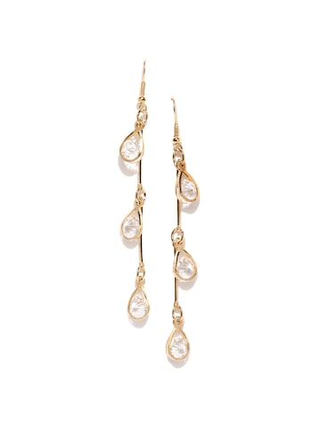 ToniQ Gold-Toned Teardrop-Shaped Drop Earrings at myntra