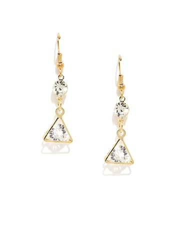 ToniQ Gold-Toned & White Geometric Drop Earrings at myntra