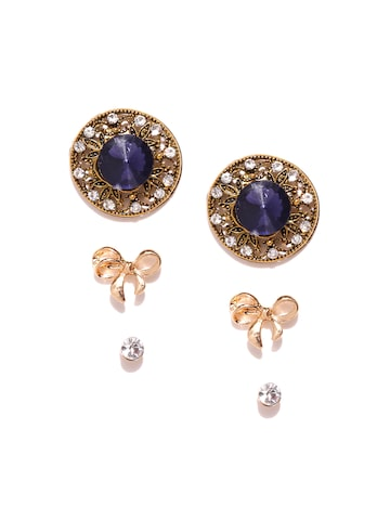 ToniQ Set of 3 Stud Earrings at myntra
