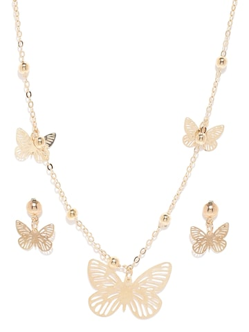 ToniQ Gold-Toned Butterfly-Shaped Jewellery Set at myntra