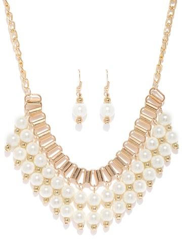 ToniQ Off-White & Gold-Toned Beaded Jewellery Set at myntra