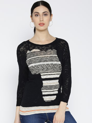 United Colors of Benetton Women Black Self-Design Top at myntra