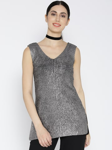 United Colors of Benetton Women Silver Striped Shimmer Top at myntra