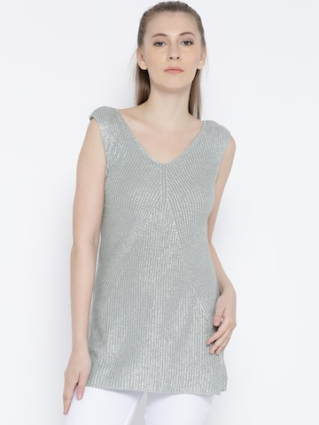United Colors of Benetton Women Silver Patterned Shimmer Top at myntra