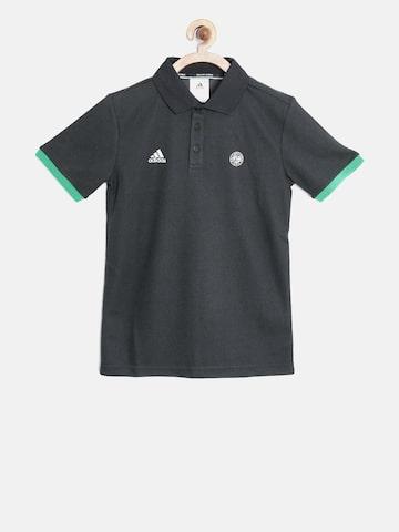 Adidas Boys Charcoal Grey RG BB Polo Collar T-shirt at myntra