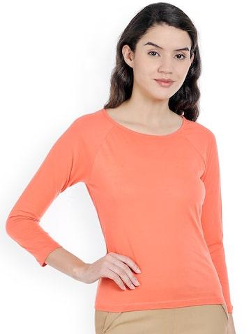 Bombay High Women Coral Orange T-shirt at myntra