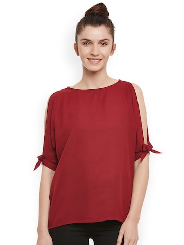 Miss Chase Women Maroon Solid Top Miss Chase Tops at myntra