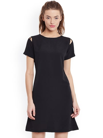 Miss Chase Women Black Solid A-Line Dress at myntra