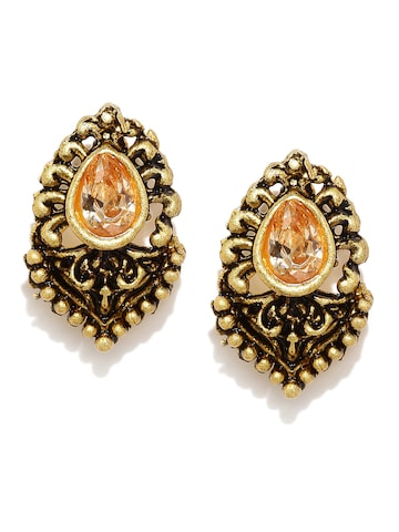 Zaveri Pearls Antique Gold-Plated Beaded Oversized Studs at myntra