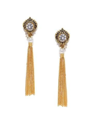 Zaveri Pearls Gold-Toned Circular Drop Earrings at myntra