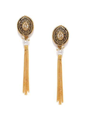 Zaveri Pearls Gold-Toned Oval Drop Earrings at myntra