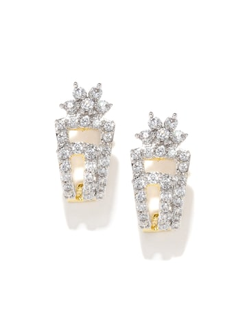 Zaveri Pearls Gold-Plated & White Contemporary Studs at myntra