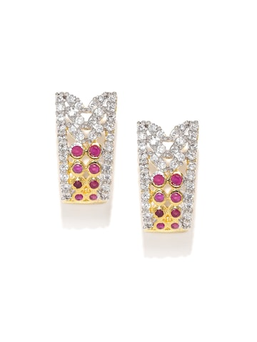 Zaveri Pearls Gold-Plated & Magenta Contemporary Studs at myntra