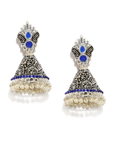 Zaveri Pearls Silver-Toned & Blue Dome Shaped Jhumkas at myntra
